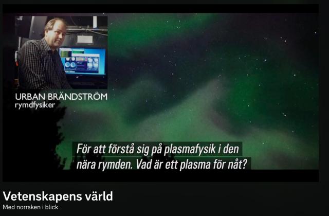 IRF:s Urban Brändström i tv om norrskensexperimentet Spider
