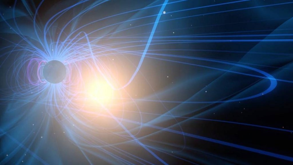 A graphic visualization of magnetic reconnection. The blue lines surrounding Earth represent the magnetic field lines of the magnetosphere and the bright point indicates the moment of reconnection. Image: NASA/Goddard Space Flight Center.