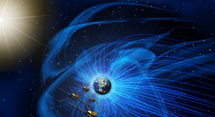 The MMS satellites in the Earth's magnetosphere. Image: NASA