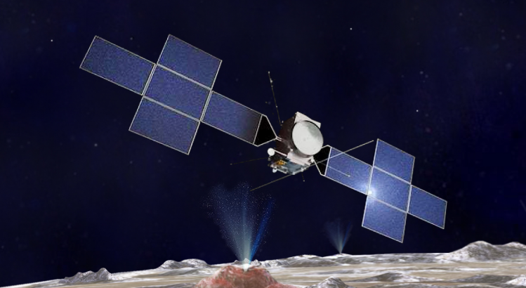 The JUICE spacecraft above a plume from the surface of Europa (image: NASA and Airbus)