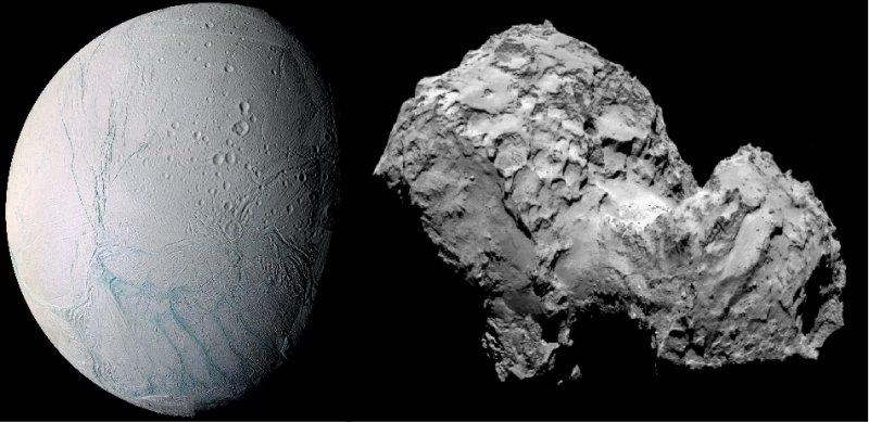 Nya rön om plasma och stoft vid månen Enceladus och kometen 67P